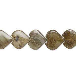 Bead, labradorite (natural), 11x11mm-13x12mm hand-cut puffed heart, D grade, Mohs hardness 6 to 6-1/2. Sold per 14-inch strand.
