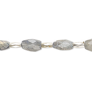 Bead, labradorite (natural), 8x5mm-10x7mm hand-cut faceted puffed oval, B- grade, Mohs hardness 6 to 6-1/2. Sold per 7-inch strand.