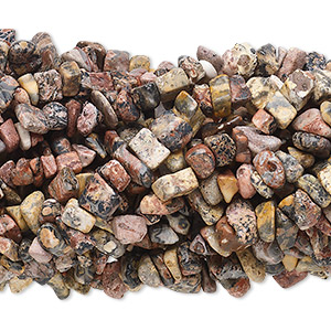 Bead, leopardskin jasper (natural), medium chip with 0.5-1.5mm hole, Mohs hardness 6-1/2 to 7. Sold per pkg of (10) 34-inch strands.