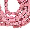 Bead, marble (imitation / dyed), pink, 4x4mm-9x5mm cube. Sold per 35-inch strand.
