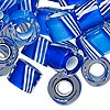 Bead mix, Fire Design Beads, cane glass, clear / blue / white, 12x8mm-16x13mm round tube with 4.5-7mm hole. Sold per 1-ounce pkg, approximately 10 beads.