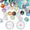 Bead mix, Swarovski crystal, mixed colors, 6mm faceted round (5000). Sold per pkg of 360.