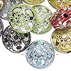 Bead mix, acrylic, mixed colors, 17mm double-sided puffed flat round with filigree design, 2.5mm hole. Sold per pkg of 24.