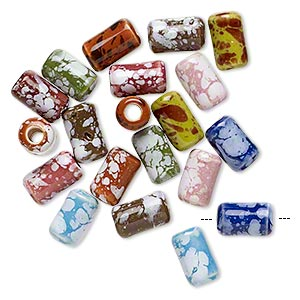 Bead mix, glazed ceramic, mixed colors, 9x5mm round tube with hand-painted splatter design, 2mm hole. Sold per pkg of 20.