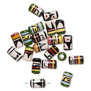 Bead mix, glazed ceramic, multicolored, 9x5mm-11x6mm round tube with hand-painted geometric design, 2mm hole. Sold per pkg of 20.