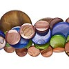 Bead mix, mother-of-pearl shell (dyed), mixed colors, 8-30mm flat round, Mohs hardness 3-1/2. Sold per pkg of (5) 16-inch strands.