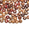 Bead mix, painted wood (coated), multicolored, 8mm hand-cut round with pattern. Sold per pkg of 100.