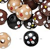 Bead mix, painted wood, mixed colors, 13-14mm irregular round with flower design. Sold per 90-gram pkg, approximately 140 beads.