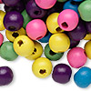 Bead mix, painted wood, mixed colors, 9-10mm irregular round. Sold per 90-gram pkg, approximately 300 beads.