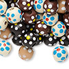 Bead mix, painted wood, mixed colors, 9-10mm irregular round with flower design. Sold per 400-gram pkg, approximately 1,500 beads.