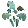 Bead mix, turquoise (dyed / stabilized), assorted size hand-carved Zuni-style bear, B grade, Mohs hardness 5 to 6. Sold per pkg of 1/4 pound, approximately 25-40 beads.
