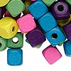 Bead mix, wood, mixed colors, 10x10mm cube. Sold per 90-gram pkg, approximately 200 beads.