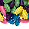 Bead mix, wood, mixed colors, 20x11mm fluted oval. Sold per 400-gram pkg, approximately 500 beads.