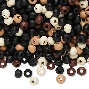 Bead mix, wood, mixed colors, 4x3mm rondelle. Sold per 400-gram pkg, approximately 23,000 beads.