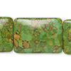 "Bead, mosaic ""turquoise"" (dyed / assembled), green, 30x22mm rectangle, Mohs hardness 3-1/2 to 4. Sold per pkg of 6."