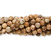 Bead, picture jasper (natural), 4mm round, C grade, Mohs hardness 6-1/2 to 7. Sold per pkg of (10) 16-inch strands.