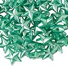Bead, plastic, pearlized opaque green, 11x11mm faceted flat star. Sold per pkg of 144 (1 gross).