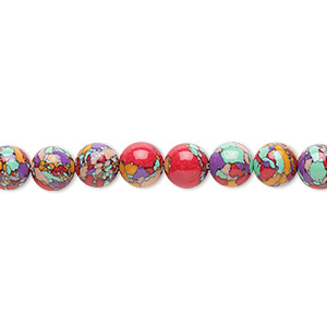 Bead, resin, multicolored, 6mm round with mosaic design. Sold per 16-inch strand.