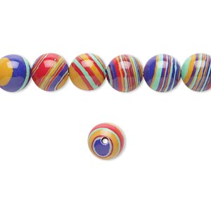 Bead, resin, multicolored, 8mm round with swirls. Sold per 16-inch strand.