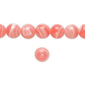 Bead, resin, white and pink, 8mm round. Sold per 16-inch strand.