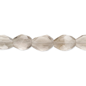 Bead, smoky quartz (heated / irradiated), light, 9x6mm-12x8mm hand-cut faceted puffed oval, B- grade, Mohs hardness 7. Sold per 7-inch strand.