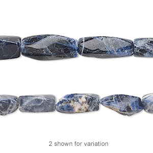 Bead, sodalite (natural), 7x4mm-16x6mm hand-cut twisted square tube, B- grade, Mohs hardness 5 to 6. Sold per 14-inch strand.