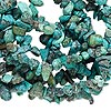Bead, turquoise (dyed / stabilized), blue-green, small chip, Mohs hardness 5 to 6. Sold per 34-inch strand.