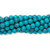 Bead, turquoise (imitation), 4mm round. Sold per pkg of (10) 16-inch strands.
