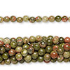 Bead, unakite (natural), 4mm round, C grade, Mohs hardness 6 to 7. Sold per pkg of (10) 16-inch strands.