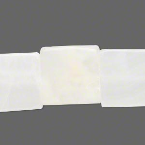 "Bead, white Italian ""onyx"" (coated), 17x16mm-19x18mm flat square, C grade, Mohs hardness 3. Sold per 15-inch strand."