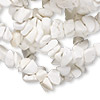 Bead, white magnesite (stabilized), medium chip, Mohs hardness 3-1/2 to 4. Sold per 34-inch strand.