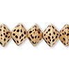 Bead, wood (coated), burnt, 15x10mm bicone with spotted pattern. Sold per 16-inch strand.