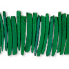 Bead, wood (dyed / waxed), green, 25x4mm hand-cut top-drilled stick. Sold per 16-inch strand.