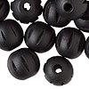 Bead, wood (dyed), black, 20mm hand-cut fluted round. Sold per pkg of 25.