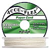 Beading cord, Accu-Flex™, paper, white, 4 strand, 0.8mm diameter. Sold per 100-foot spool.