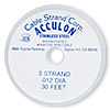 Beading wire, Acculon™, nylon-coated stainless steel, gold color, 3 strand, 0.012-inch diameter. Sold per 30-foot spool.