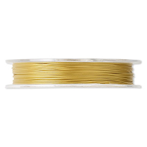 Beading wire, Tigertail™, nylon-coated stainless steel, gold, 7 strand, 0.015-inch diameter. Sold per 30-foot spool.