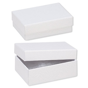 Box, paper, cotton-filled, white, 3-1/4 x 2-1/4 x 1-inch textured rectangle. Sold per pkg of 100.