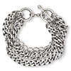 Bracelet, 6-strand, antiqued silver-plated brass, 7-1/2 inches with toggle clasp. Sold individually.