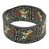 Bracelet, bangle, polymer clay, black and multicolored, 32mm wide with 60mm diameter, fits up to 7-1/2 inches. Sold individually.