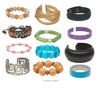 Bracelet mix, multi-gemstone / glass / acrylic, mixed colors, 2-35mm mixed shapes and styles, 7 inches. Sold per pkg of 6.