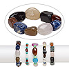 Bracelet mix, stretch, multi-gemstone (natural / dyed / stabilized / irradiated), mixed colors, 6mm-30x22mm mixed shape, 7 inches. Sold per pkg of 5.