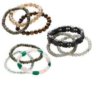 Bracelet mix, stretch, multi-gemstone (natural / dyed) and glass, multicolored, 7-10mm wide with 4mm-30x15mm mixed shapes, 6 to 7-1/2 inches. Sold per pkg of 3.
