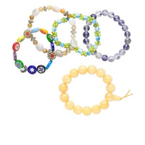 Bracelet mix, stretch, multi-gemstone (natural / dyed) and glass, multicolored, 3-12mm mixed shape, 6 to 8-1/2 inches. Sold per pkg of 5.