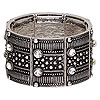 "Bracelet, stretch, Chinese glass rhinestone and antiqued silver-finished ""pewter"" (zinc-based alloy), clear, 38mm wide with rectangle, 7 inches. Sold individually."