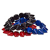 Bracelet, stretch, turquoise (imitation), red / blue / black, 14x14mm spike, 7-1/2 inches. Sold per pkg of 3.
