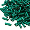 Bugle bead, Dyna-Mites™, glass, matte silver-lined dark green, #3 square hole. Sold per 1/2 kilogram pkg.