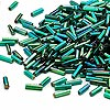 Bugle bead, Dyna-Mites™, glass, silver-lined rainbow emerald green, #3 square hole. Sold per pkg of 35 grams.