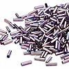 Bugle bead, Dyna-Mites™, glass, silver-lined rainbow purple, #3 square hole. Sold per pkg of 35 grams.