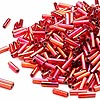 Bugle bead, Dyna-Mites™, glass, silver-lined rainbow ruby red, #3 square hole. Sold per 1/2 kilogram pkg.